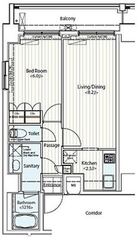 クイーンシティ新富町(ドゥーエ新富町) / D1タイプ(40.20㎡) 部屋画像1