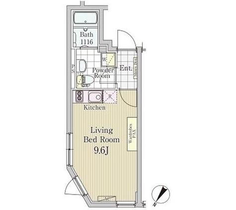 LAPIS白金高輪 / 1K(24.07㎡) 部屋画像1