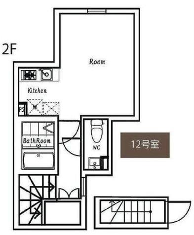 ポルトグランデ目黒かむろ坂 / 12号室タイプ(24.51㎡) 部屋画像1