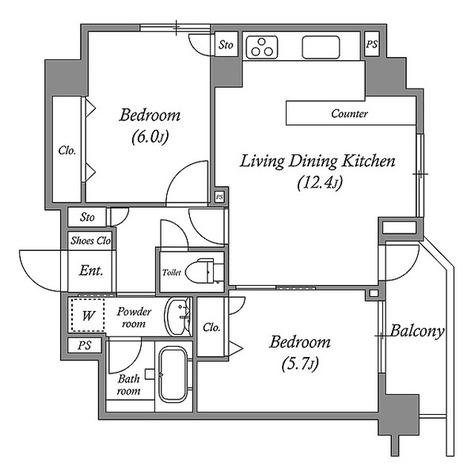 ルクレ板橋 / 2LDK(55.18㎡) 部屋画像1