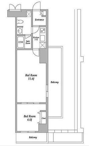 エスティメゾン東新宿 / 2K(44.45㎡) 部屋画像1