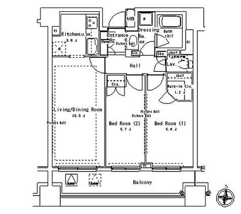 パークアクシス御茶ノ水ステージ / 2LDK(58.51㎡) 部屋画像1
