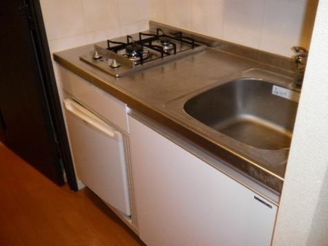 小型冷蔵庫付システムキッチン(2口ガスコンロ)