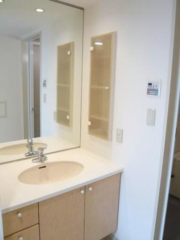 天井までの大きな鏡/独立洗面台