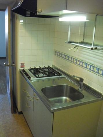 ガスキッチン2口、収納もバッチリ