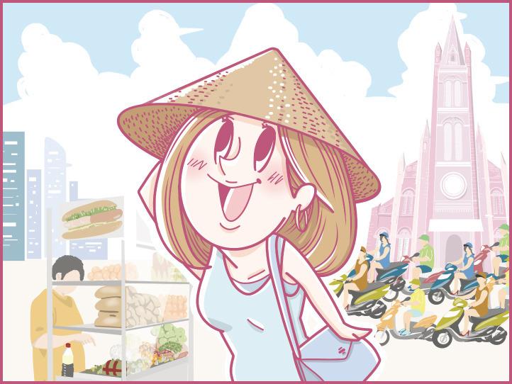 【連載4コマ漫画 / 第1話】ホーチミンにハマり中!ももの旅行日記