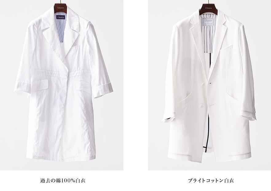 過去の綿100%白衣 ブライトコットン白衣