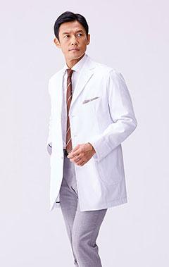 メンズ白衣:ノーフォークショートコート