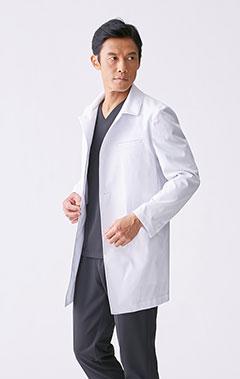 メンズ白衣:ステンカラードクターコート