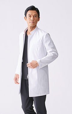 メンズ白衣:スタンドカラージップアップコート