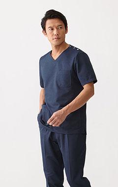 メンズ手術衣:リネン・スクラブトップス