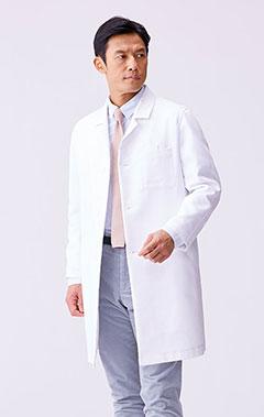 メンズ白衣:二重織りラグランコート