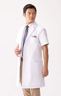 メンズ白衣:ショートスリーブLABコート