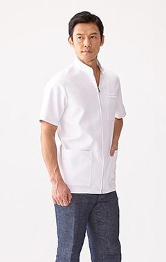 メンズ白衣:二重織りケーシー