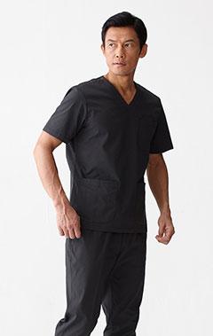 メンズ手術衣:スクラブトップス・シアサッカー