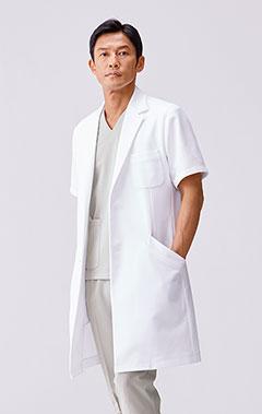 メンズ白衣:ショートスリーブコート・クールテック