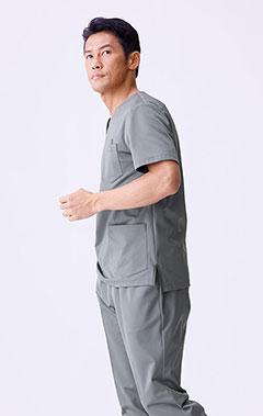 メンズ手術衣:ジャージースクラブトップス・LUXE
