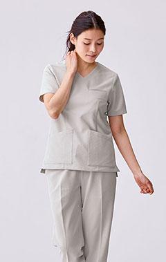 レディース手術衣:スクラブトップス・クールテック