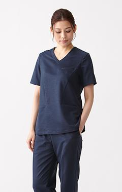 レディース手術衣:リネン・スクラブトップス