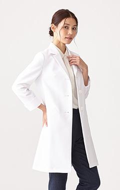レディース白衣:二重織りチェスターコート
