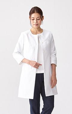 レディース白衣:ノーカラーレディースコート