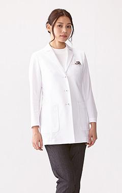 レディース白衣:ジャージーショートコート