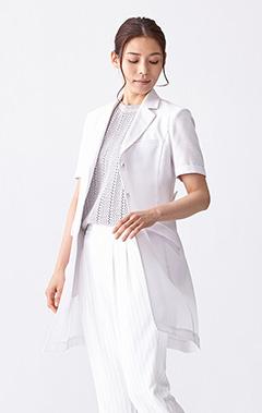 レディース白衣:ショートスリーブコート・ドライ