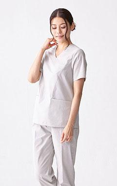 レディース手術衣:スクラブトップス・シアサッカー