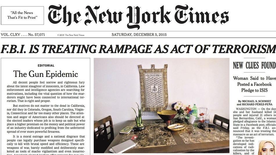 ニューヨークタイムズが95年ぶりに社説を一面に掲載。内容は非難が集まる「銃規制」について。