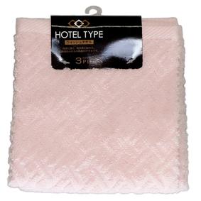 ホテル仕様 おしぼりタオル ピンク 3枚組(34cm×35cm)