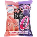 ぷるんと蒟蒻ゼリーパウチ カロリーゼロ 白桃+巨峰 216g(18g×12個)