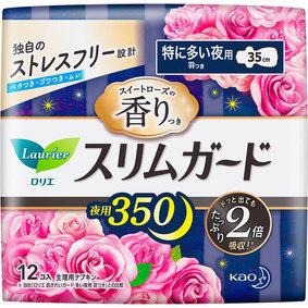 ロリエスリムガード スイートローズの香り 特に多い夜用350 12個