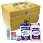 木製救急箱衛生材料セット付L