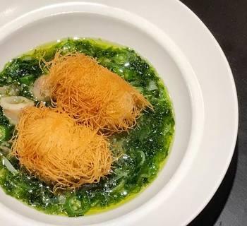 アンコウのカダイフ巻き 青海苔とオクラ、アンコウ出汁のスープ仕立て