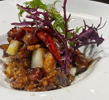 長崎県対馬より天然猪と根パセリ バルサミコとスパイスのソース