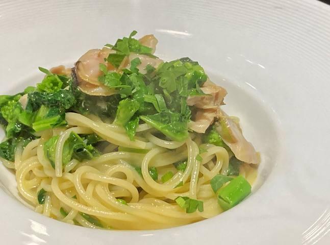 地ハマグリと菜の花のスパゲッティ