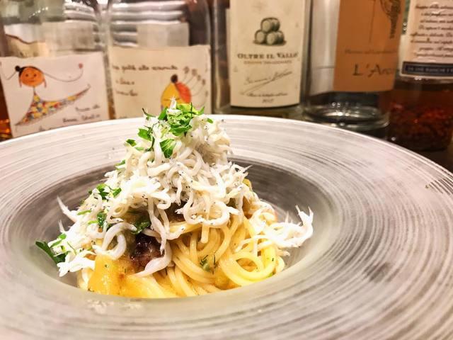 シラスと生海苔、焼きナスの冷静スパゲッティ