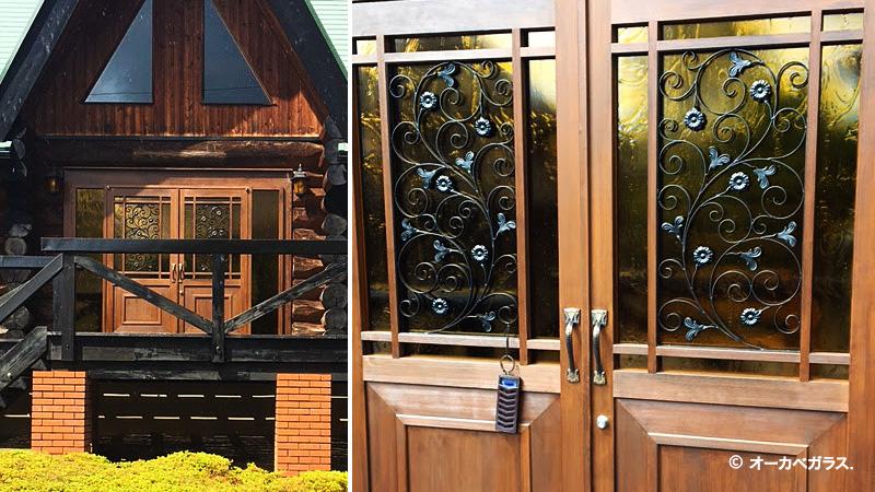 両開き玄関ドアに「SAG-024 アルトドイッチェK(イエロー)」を設置した事例のお写真