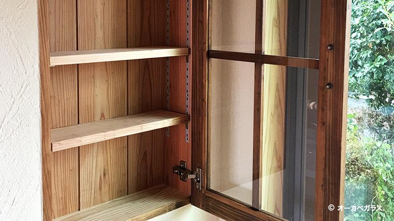 お客様事例 : 食器棚の扉用の「フロートガラス(3mm)」を設置!オーダー家具店の事例