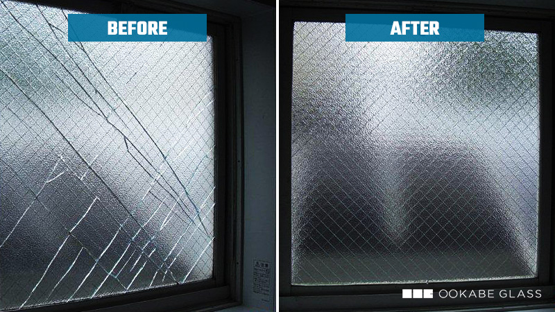浴室の窓ガラスを「網入り型板ガラス(霞ヒシワイヤ)」に交換したM様宅の事例のお写真