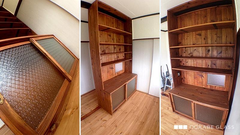 自作家具の引き戸と窓に「フローラガラス」を設置したS様の事例のお写真