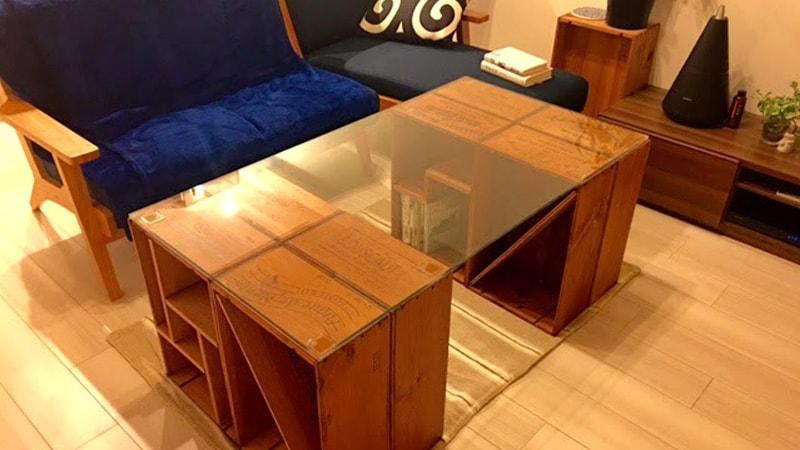 テーブル天板に「強化ガラス(8mm)」を設置したS様の事例のお写真