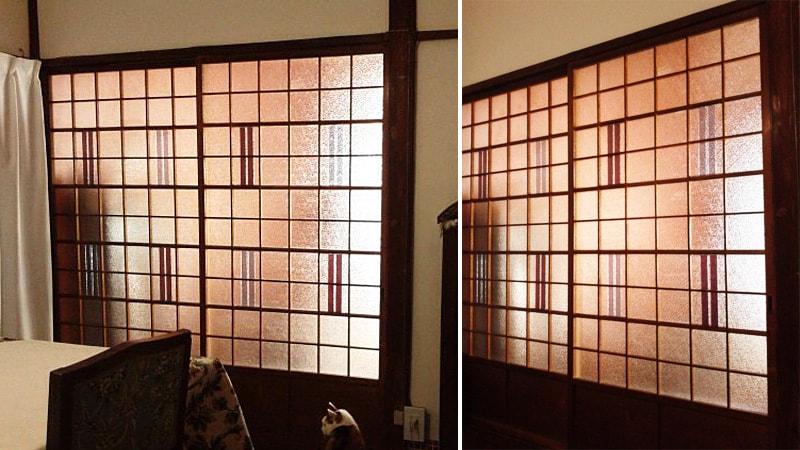 ガラス障子に「カラードアンティーク」を使用したO様の事例のお写真