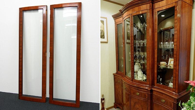 食器棚のガラス扉の修理に「曲げガラス」を注文されたI様の事例のお写真