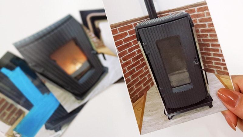 ペレットストーブのガラスを「耐熱ガラス(ファイアライト)」に交換した事例(広島県広島市 M様)のお写真