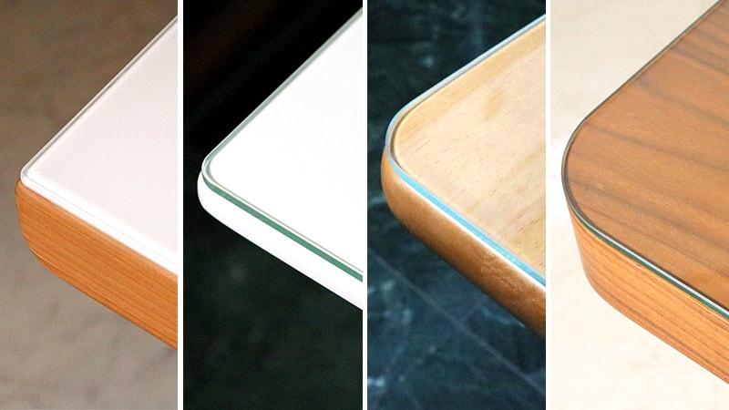 「テーブルトップガラス」をコーナーR別に比較!角が丸い机4種類に置いてみた