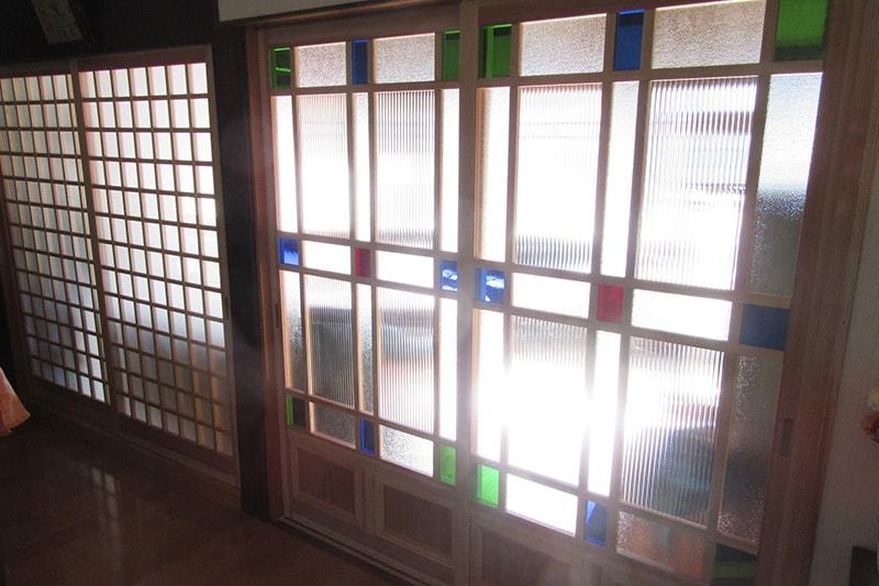 ガラスを組み合わせて窓ガラス製作(窓ガラス1枚目)
