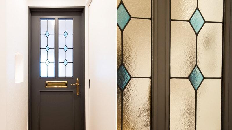 お客様事例 : ドア窓を彩る!ダイヤ柄が並んだ「ステンドグラス」を製作した事例(北海道札幌市 K様)