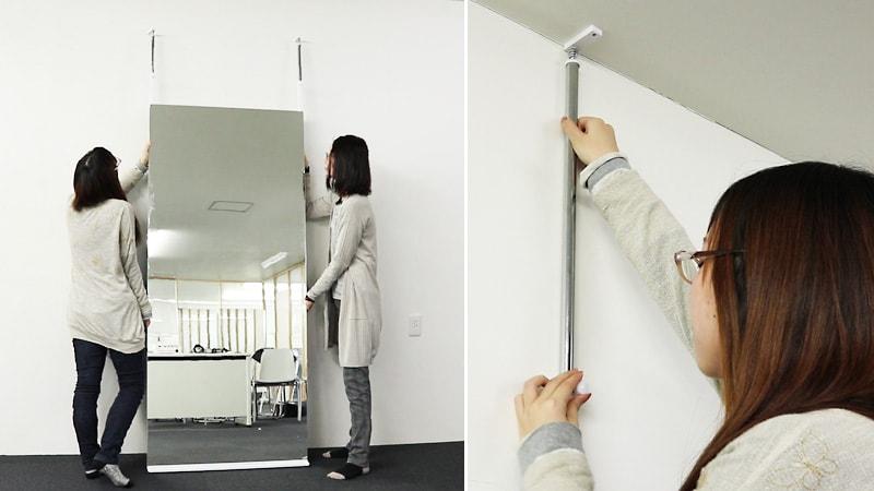 施工いらず!「壁ミラー つっぱりタイプ」の組み立て&取り付け方法
