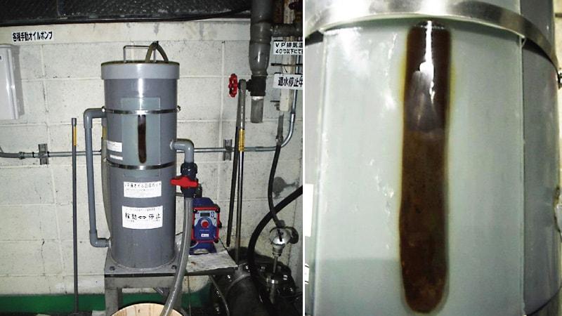 廃オイルタンク界面計に曲げ加工の「高透過ガラス」を設置した事例(静岡県富士市 A社様)のお写真